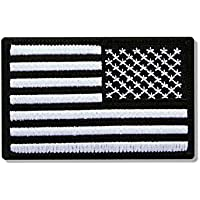 Hot Leathers, RIGHT ARM FLAG BLK/W, High Thread EMBROIDERED Iron-On / Saw-On Rayon PATCH toppa - 3