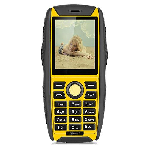 KENXINDA W3 2G Téléphone Mobile Étanche IP68 Antipoussière Antichoc - 2.2 '' Écran TFT 176 x 220 pixels QCIF Résolution - 32MB RAM+32MB ROM - Caméra Unique - Dual SIM - Jaune