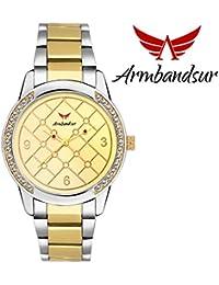 Armbandsur silver & golden strap golden dial watch- ABS0041GGG