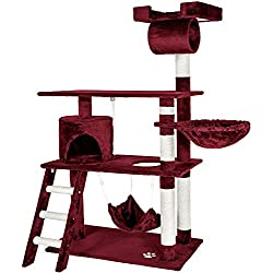 TecTake Rascador para gatos Árbol para gatos Sisal Juguetes 141 cm - disponible en diferentes colores - (burdeos rojo | no. 401856)