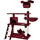 TecTake Cat Scratcher Activity Center Cat Tree Scratching Post 141cm - different colours - (Red | no. 401856)