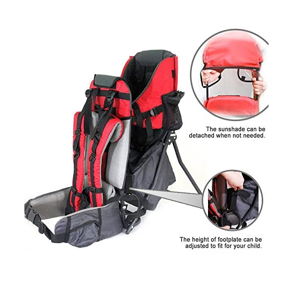 Baby Toddler Hiking Backpack Carrier w/Stand Child Kid Sunshade Shield XTLSTORE Ideal for Children Between 6 months to 4 years old. Maximun child weight: 50 pounds Canopy can be easily removed or folded back out of the way 3