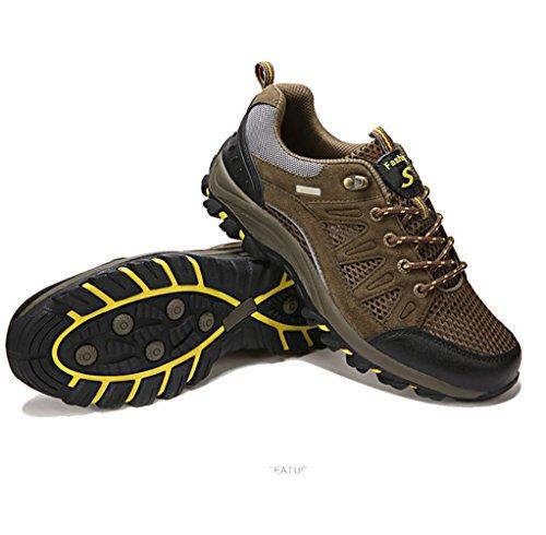 Unisex Erwachsene im Freien Bunte Farbe Zehenschutz Mesh Bergklettern Anti-Rutsch Schnürsenkel Sport Turnschuhe Kletternschuhe Wanderstiefeln Grau