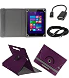 ECellStreet ™ PU Leather Rotating 360° Flip Case Cover With Tablet Stand For HCL ME Connect V3 - Purple + Free Aux Cable + Free OTG Cable