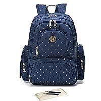 Baby Printed Multi Function Large Waterproof Nylon Diaper Nappy Changing Bag Nursery Mummy Backpack Shoulder Bag (Blue Dot)