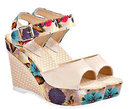2014 Sommer neue Schuhe Keil Sandalen Bohemien Muffin dicke Kruste Fischkopf wasserdichte Schuhe mit hohen Absätzen in Rom Beige
