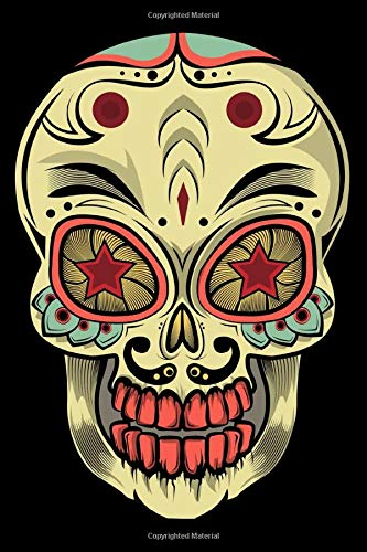 Journal: Painted Skull Decor Artistic Halloween Scary Skull Black Lined Notebook Writing Diary - 120 Pages 6 x 9 (De Un Dia Halloween)