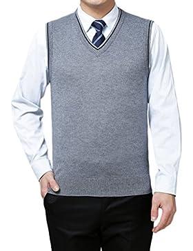 Zhhlaixing De los hombres Mens Men Soft V-neck Pullover Knitted Knitwear Jumper Vest Waistcoat Gilet Christmas...