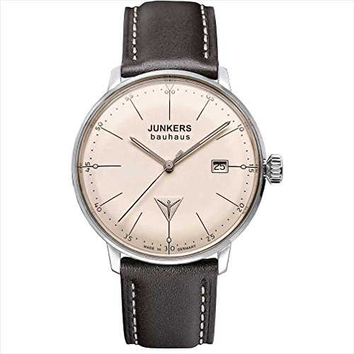 Junkers Junkers Bauhaus–Reloj de pulsera analógico para mujer cuarzo One Size, crema, marrón/plata/Crema