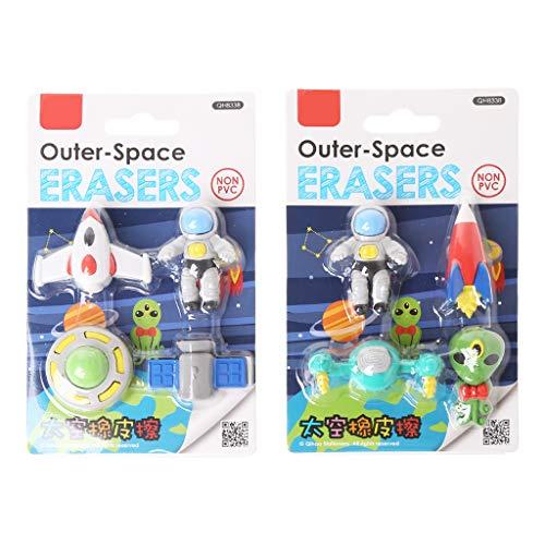 Freshsell 4-teiliges Set Kreativer Fliegender Untertasse, Alien-Raumschiff-Form, Radiergummi für Kinder