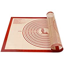 Non-Slip Silicone Pastry Mat Extra Large with Measurements 71 × 51 cm for Baking Mat, Counter Mat, Dough Rolling Mat,Placement/Fondant/Pie Crust Mat by Super Kitchen (red)