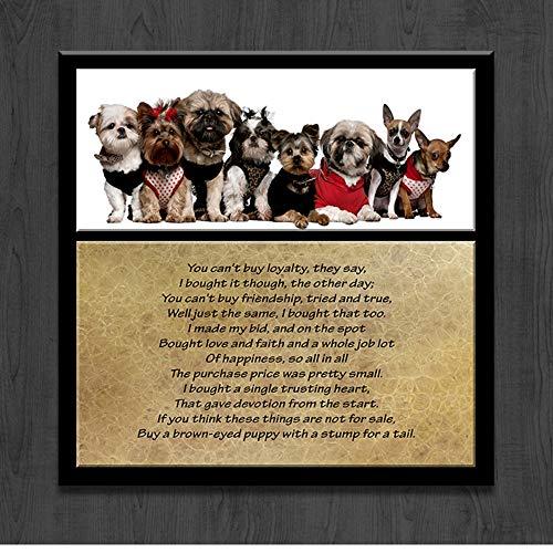 XWArtpic Nette HD Hund Wandkunst Malerei Leinwanddruck Tier Welpen Teddy Puppe Labrador Mops Pudel Bild Für Wohnzimmer Wohnkultur 60 * 60 cm -