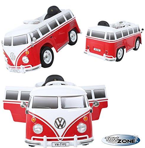 Kinderfahrzeug 12V Kinder Elektro Auto VW T1 Camper Samba Bulli Transporter Bus Steuerung