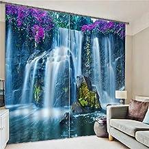 3D-Fenstervorhänge Lila Blumen Und Wasserfälle Hohen Schattierungen Europäischen Schlafzimmer Salon Dekoration Druck Schattierung Gewebe Polyester Wärmedämmung