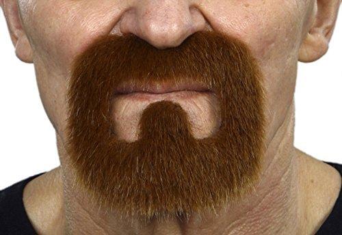 (Mustaches Selbstklebende Neuheit Inmate Fälscher Bart Falsch Gesichtsbehaarung Kostümzubehör für Erwachsene Ingwer Farbe)