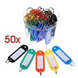 TOOGOO(R) 50 x etiquette d'identification de porte-cles en plastique Couleur variee