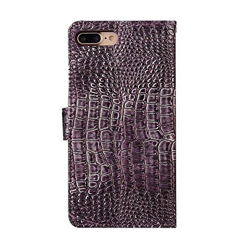 """MOONCASE iPhone 7 Plus/7G Plus Coque, [Crocodile] Housse en Prime Cuir Etui à rabat pour iPhone 7 Plus/7G Plus 5.5"""" Portefeuille Porte-cartes TPU Case avec Béquille Noir Violet"""