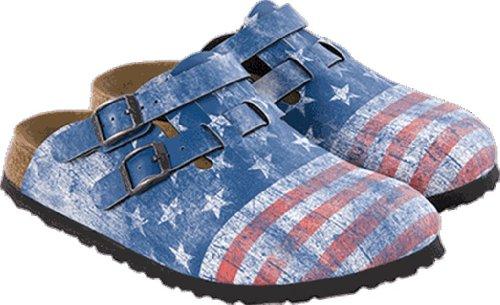Birki's KAY BF DD DF 935751 Unisex-Erwachsene Clogs & Pantoletten Blue - Stars & Stripes