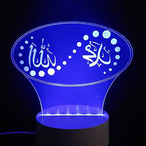 MinegRong Farben ändern Neuheit Islam Lampen Gott Allah segne Koran Arabisch Zitate Licht 3D Illusion Glow Party Decor Lampe mit Fernbedienung Cont