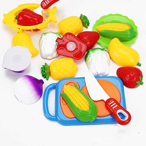 Haodu Niños Fruta Cortar Juguete Cocina de Plástico Jugar Alimentos Corte de Vegetales Pretender Juegos de Rol Juego de Herramientas de 12 piezas Edición de Pizza