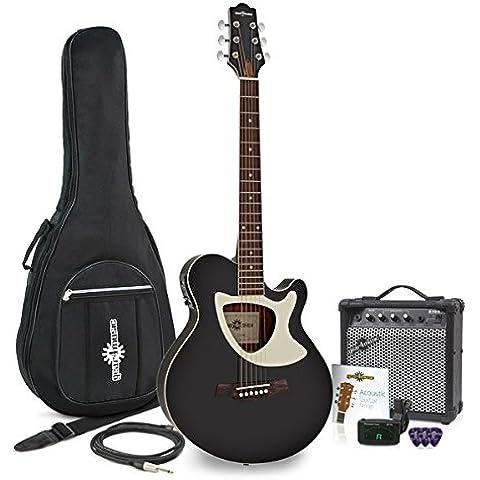 Guitarra Electroacústica Deluxe Thinline + Pack de Ampli de 15W - Negro