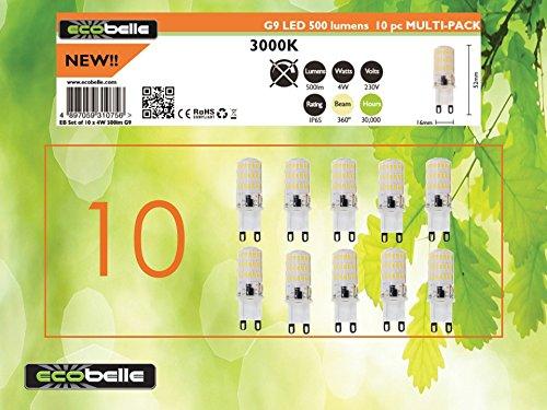 ECOBELLE® 10 x Lampadine LED G9 4W in silicone, 500 Lumen, Bianco Caldo 3000K, Dimensioni ridotte: 5.20 cm x 1.60 cm, Lampadina Potente!!!!