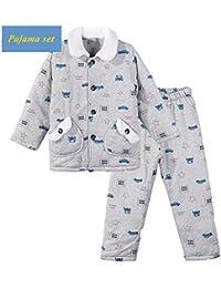 Pijamas para Niños,Otoño E Invierno Niños Grandes Acolchado Grueso Servicio A Domicilio Pijamas Calientes