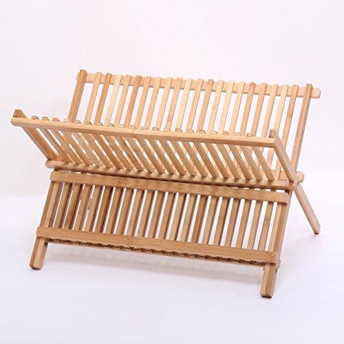 Musiclily bambù pieghevole Compact Home Colapiatti piatto di asciugatura del
