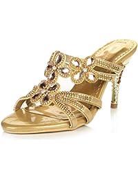 076ba887ec04b Zapatillas HAIZHEN Zapatos de Mujer Sandalias de tacón Alto para Mujer  Diamantes Sexy Sandalias Superiores para