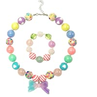 NLR Kinder Halskette und Armband Set, bunte Schmuck Set für kleine Mädchen, tolle Modeschmuck und Geschenk Wahl für…