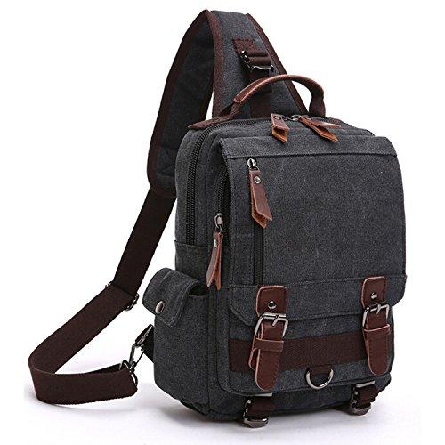 Outreo Vintage Brusttasche Umhängetasche Kuriertasche Retro Taschen Herren Schultertasche Herrentaschen Damen Messenger Bag für Tablet Schultaschen Reisetaschen Sport Tasche Schwarz