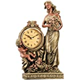 Opal Standing Lady and Child Table Top Statue Clock (Gold)