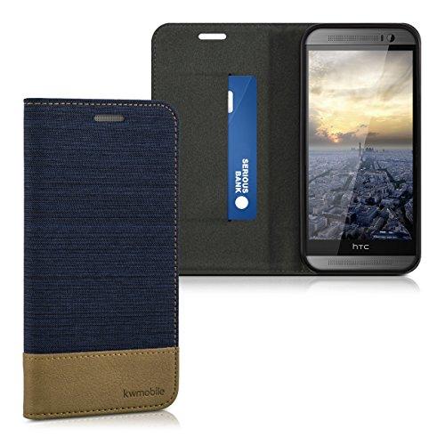 kwmobile Flip Hülle Case für HTC One M8 / Dual - Schutzhülle Cover Bookstyle aus Kunstleder und Textil in Dunkelblau Braun