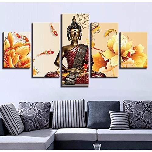Cczxfcc Modulare Bilder Wandkunst Hd Druckt 1 Stücke Buddha Leinwand Malerei Religiöse Dekoration Nacht Hintergrund Kunstwerk Poster-30X40/60/80Cm-No Frame