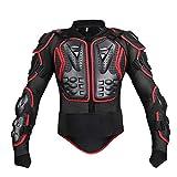 HGXT Motocicleta Moto de Cuerpo Completo Armadura Armadura Protector Pro Street Motocross ATV Guardia Camisa de la Chaqueta con protección Trasera Certificación CE roja,XXL