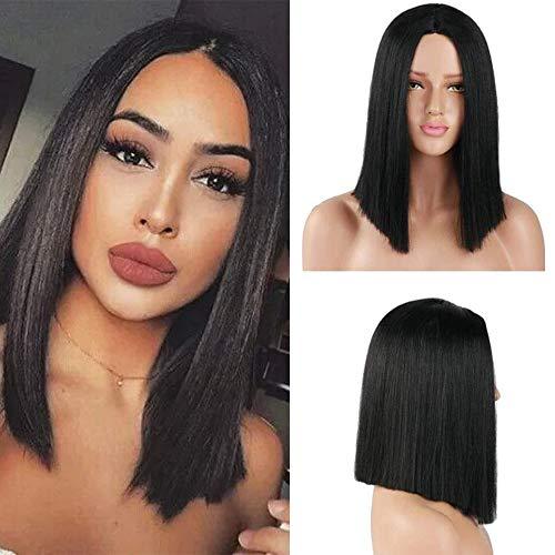 YMHPRIDE Synthetische Gerade Haar Perücke Schwarz Kurze Bob Perücken Mittelteil Perücke für Frauen Mädchen Kostüm Täglichen Verschleiß