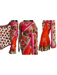 Sunshine Fashion Women's Georgette Saree With Blouse Piece - SUNSA673-FB_Orange_Free Size