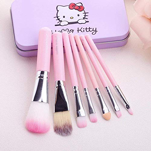 Techicon A TO Z Hello Kitty Complete Makeup Mini Brush Kit With A Storage Box - Set Of 7 Pcs