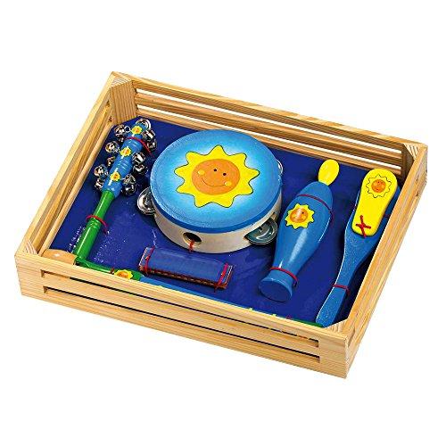 Musik-Set 'Sonnenschein' aus Holz, 6-tlg. Set mit Tamburin, Schellenstab, Mundharmonika,...