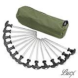 Lucx® Heringe-Set 14-TLG + Tasche für Bivvy/Erdnägel/Zeltnägel/T-Pegs für Angelzelte