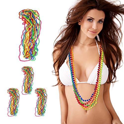 Relaxdays 48 x bunte Perlenkette Neon, Hippiekette, Kostüm-Accessoire, 80er Jahre Motto-Party, Karneval, Fasching, 6 Farben