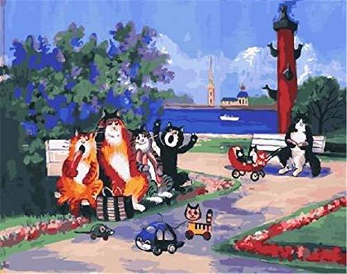 LISHIHAOZY Malen Nach Zahlenkatzen Party In Der Stadt Acrylbild Wand Kunst Zeichnung Von Zahlen Auf Leinwand Für Wohnkultur Besondere Geschenke(Ohne Rahmen)