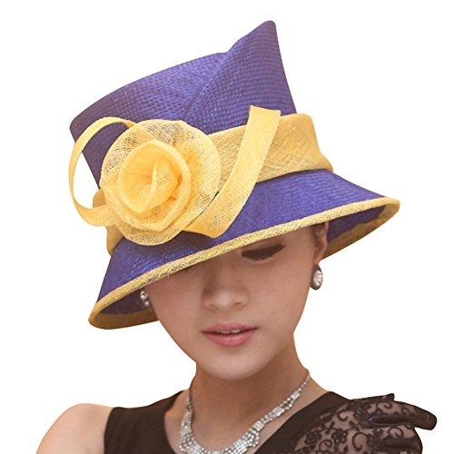 June's Young Femmes Chapeau De Paille Disquette Plage à Large Bord Bleu