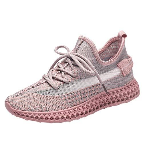 WOZOW Scarpe da Donna Scarpe Sportive Sneaker Tempo Libero All'aperto Casuale Scarpe Traspirante Maglia Scarpe da Ginnastica Rosa 37.5EU