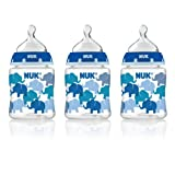 NUK Elephants Fashion Orthodontic Bottle in Boy Patterns, 5-Ounce, 3 Count by NUK