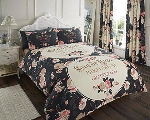 Lola en polycoton avec housse de couette Parure de lit, taies d'oreiller gratuit inclus par EDS, LOLA BLACK, Super king