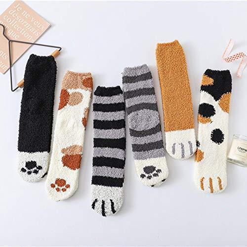 Alecony 6 Paar Damen Wärme Wintersocken,Kuschelsocken Flauschige Damen niedliche Katzenpfoten-Print Socken,Warme flauschig Wintersocken,Weihnachtssocken,Bettsocken,Fuzzy Haussocken für Mädchen Frauen -