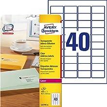 Avery Zweckform L4770-25 Lot de 1000 étiquettes transparentes faciles à décoller QuickPeel pour imprimante laser 45,7 x 25,4 mm (Import Allemagne)