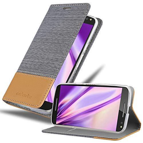 Cadorabo Coque pour Motorola Moto X Style en Gris Clair Marron - Housse Protection avec Fermoire Magnétique, Stand Horizontal et Fente Carte - Portefeuille Etui Poche Folio Case Cover
