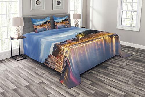 Schlafzimmer-set Lyon (ABAKUHAUS europäisch Tagesdecke Set, Saone Lyon Stadt, Set mit Kissenbezügen Sommerdecke, für Doppelbetten 220 x 220 cm, Mehrfarbig)